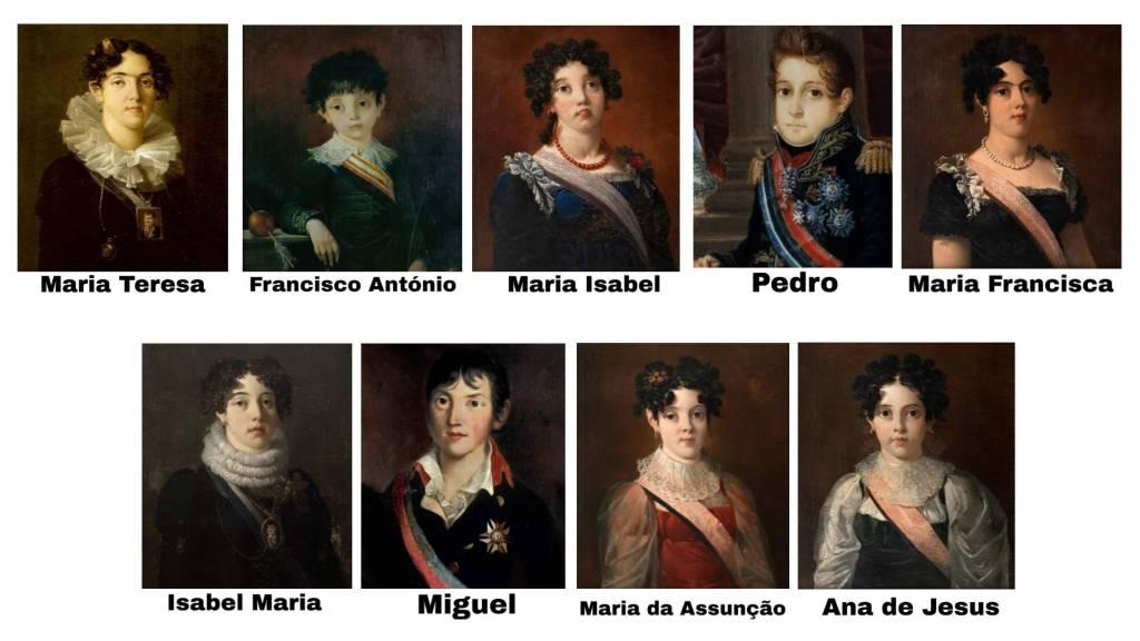 Filhos de Dona Carlota Joaquina e Dom João VI. Observe os irmãos Dom Pedro I e Dom Miguel.