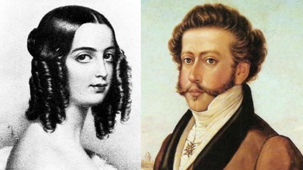 Duquesa de Goiás e seu pais Dom Pedro I.