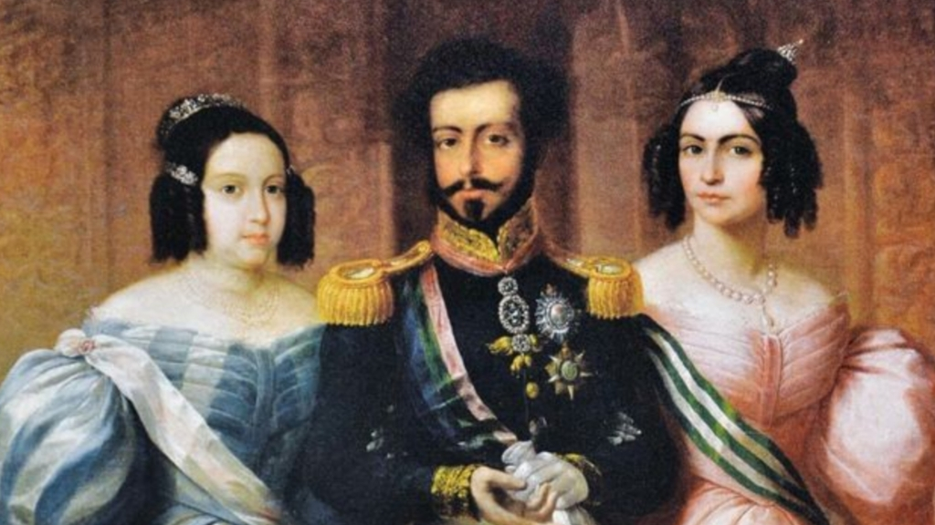 Rainha Maria II, Dom Pedro IV e Dona Amélia de Leuchtenberg.