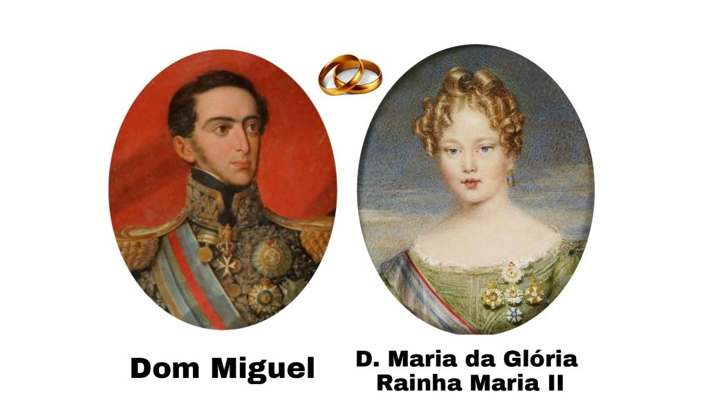 Dom Miguel e sua esposa Rainha Maria II. O casamento não foi consumado.