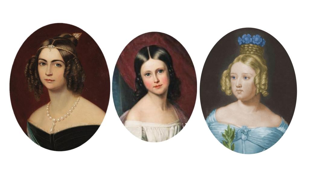 D. Amélia de Leuchtenberg, Princesa Maria Amélia e a Rainha Maria II de Portugal.